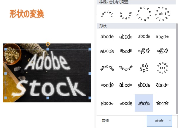 3-Dとは別の 文字の形状変換で 文字のイメージを表現
